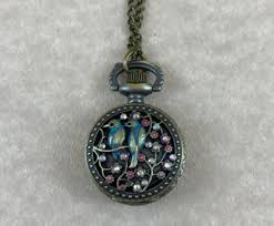 necklace watch vintage images Birds n 39 flowers crystal brass pocket watch pendant the vintage punk jpg