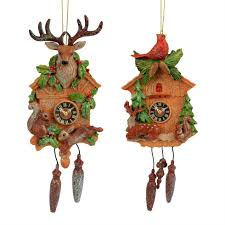 set of 2 polyresin cuckoo clock tree ornaments the
