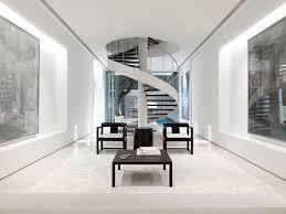 interior spiral staircase design idea with white theme designed