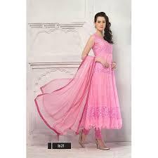 buy pink net and brasso anarkali dress material online craftsvilla