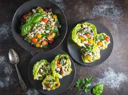 quick marinated white bean salad and feta lettuce cups recipe