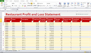 Profit And Loss Statement Template Excel Restaurant Profit And Loss Statement Template Excel Excel
