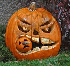 decoration ideas handsome scary pumpkin eating another pumpkin