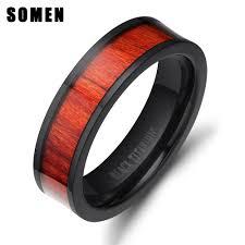 titanium engagement rings images Retro 8mm red wood ring black titanium engagement rings for men jpg