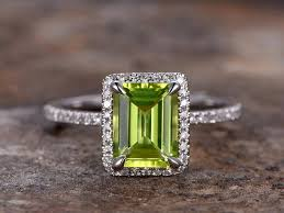 peridot engagement rings 6x8mm emerald cut peridot engagement ring white gold plated