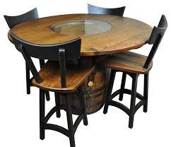 wine sets rustic whiskey wine barrel table and 24 swivel stools set of 4