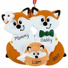 fox family of 3 ornament personalized ornaments for you