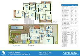 floor plan of al mariah al raha gardens 5 bedroom type s 4800 3 sqft