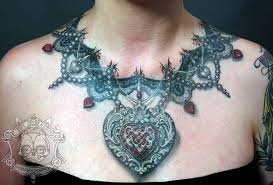 tattoo necklace jewelry images Realistic look 3d amazing heart chain necklace tattoo jpg
