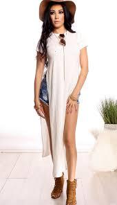 white long scoop neckline short sleeves slit both sides casual