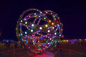 burning animated steel rings sculpture with led lights
