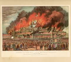 currier and ives print lithograph fireman fire san