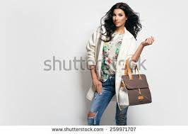 fashion brunette model nice clothes posing stock photo 259971707