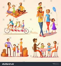 Holidays And Celebrations Family Retro Cartoon Set Celebrations Holidays Stock Vector