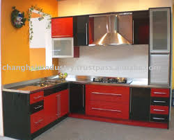 Red And Black Kitchen Cabinets Stainless Steel Kitchens Cabinets Thraam Com