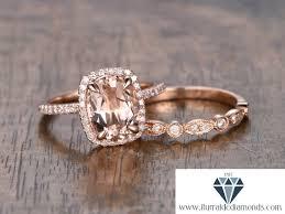6x8mm halo oval cut morganite engagement ring set matching half