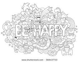 printable coloring adults cartoon characters stock vector