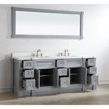 84 Bathroom Vanity Double Sink 84 Inch Gray Finish Double Sink Bathroom Vanity Cabinet With Mirror