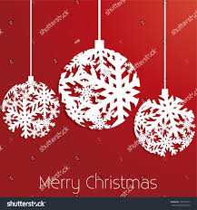 snowflake christmas ornaments red background merry stock vector
