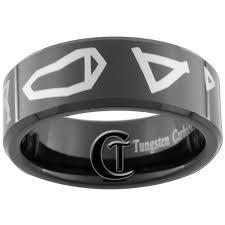 stargate wedding ring 8mm black beveled tungsten stargate atlantis ring