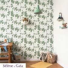 papier peint lutece chambre palmiers fond kaki collection sélène gaïa de lutèce decoration