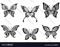 black butterfly tattoos royalty free vector image