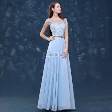robe mariage bleu de soirée de mariage bleu ciel longue en mousseline col