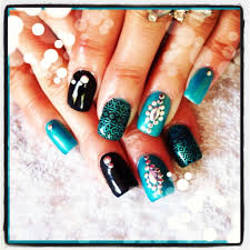 acrylic nails with turquoise gel polish and studs youtube