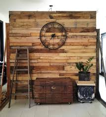 unusual diy pallet room divider ideas with classic wall clock