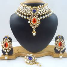 choker necklace pearl images Orange kundan pearl gold tone traditional choker necklace set 4 jpg