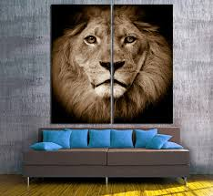 lion portrait 2 panel split diptych canvas print closeup zoom