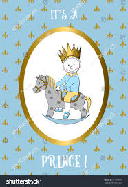 Baby Boy First Birthday Invitation Cards Boy Card Small Prince Riding Rocking Stock Vector 377949556