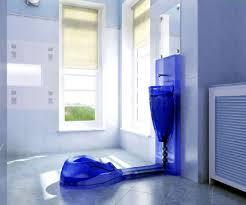 blue brown bathroom ideas black mosaic tiles shower room divider