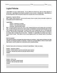 logical fallacies worksheet free to print pdf social