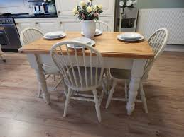 Solid Pine Table Vintage Shabby Chic Solid Pine Table U0026 4 Solid Oak Chairs