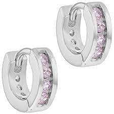 baby hoop earrings 925 sterling silver cz huggie hoop earrings for baby girl