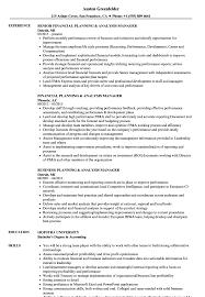 planning analysis manager resume samples velvet jobs