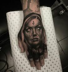 evil nun hand tattoo by nick cowan cool work tetovalasok
