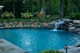 waterfalls for inground pools inground pool with waterfall reverse side of beach entry swimming