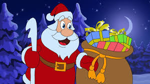 English Christmas Gifts - santa claus with a christmas gift hand draw animated clip with