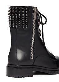 womens leather biker boots sergio rossi stud leather biker boots in black lyst
