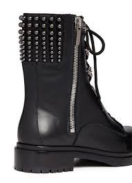 biker boots brands sergio rossi stud leather biker boots in black lyst