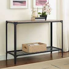 walker edison furniture company angle iron driftwood console table