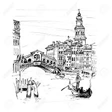 grand canal near bridge ponte di rialto in sketch style venice