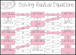 Simplifying Radicals Worksheet Algebra 1 Radical Equations Maze Advanced Solving Equations Square