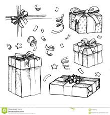 hand drawn christmas card with gift boxes line art stock vector