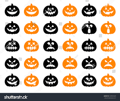 halloween pumpkin vector 30 icons set stock vector 323987429
