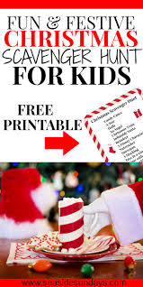 free printable christmas scavenger hunt kids seaside sundays