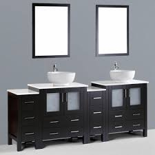 Bathroom Vanities With Vessel Sinks Contemporary 84 Inch Espresso Finish Round Vessel Sink Bathroom