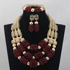 aliexpress bead necklace images Fantastic wine african beads jewelry set burgundy wine wedding jpg